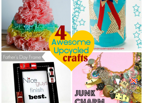 Four awesome upcycled craft ideas featured at DollarStoreCrafts.com