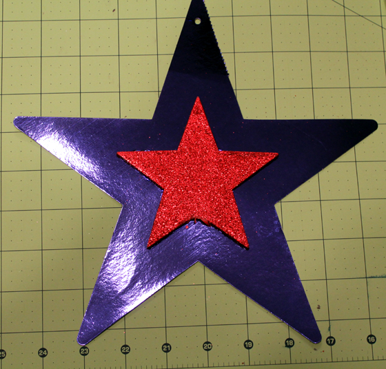 shiny red and blue star