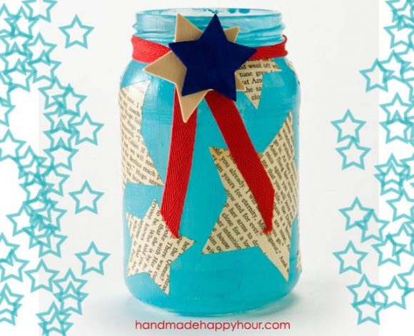 Upcycle a jar into an adorable patriotic candle holder - by Cathie Filian