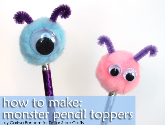 pom pom monster pencil topper craft