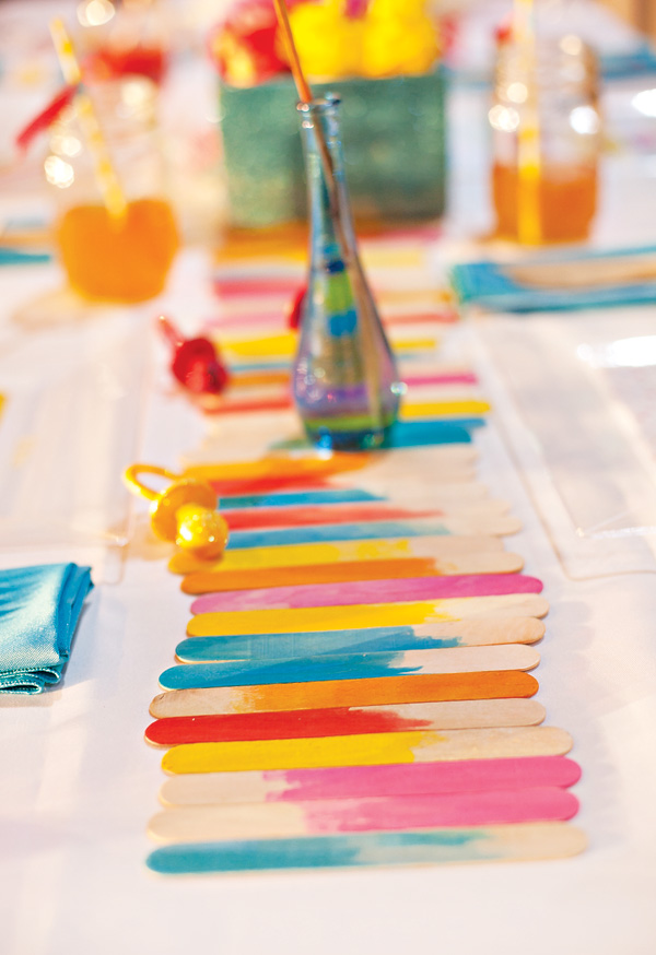 Make a Watercolor Popsicle Stick Table Runner