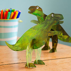 finger painted dinosaur toys