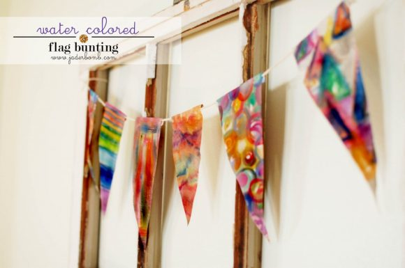 Watercolored bunting by Jaderbomb.com