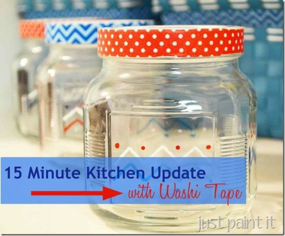 Make Washi Tape Kitchen Jars Dollar Store Crafts