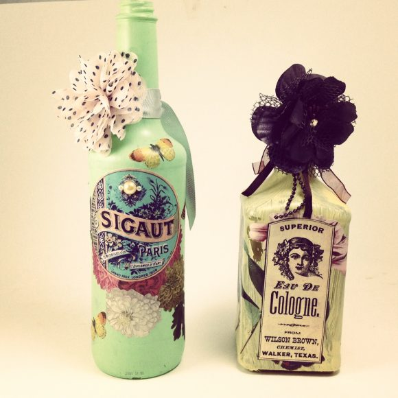 Decoupage recycled bottles with Martha Stewart