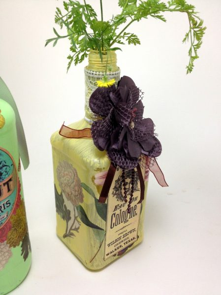 altered recycled bottle - decoupaged bottle