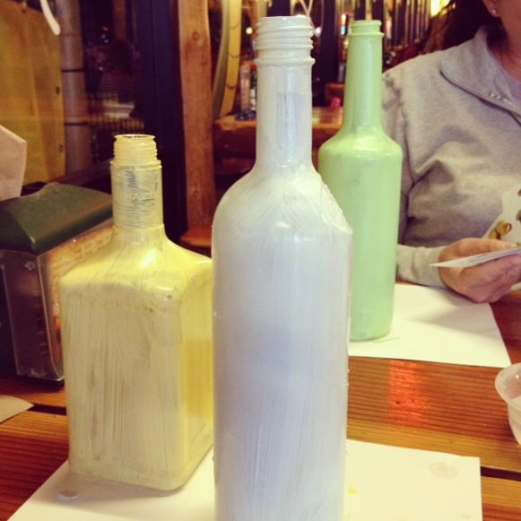 painting recycled bottles