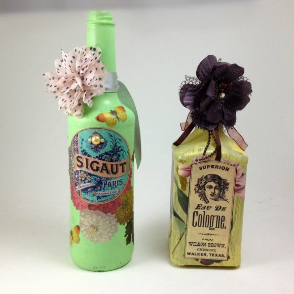 Altered bottles - recycled bottles - decoupaged bottles