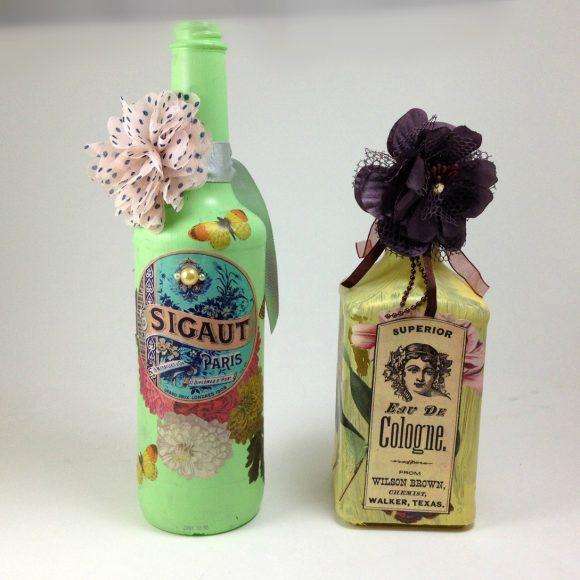 Altered bottles - recycled bottles - decoupaged bottles