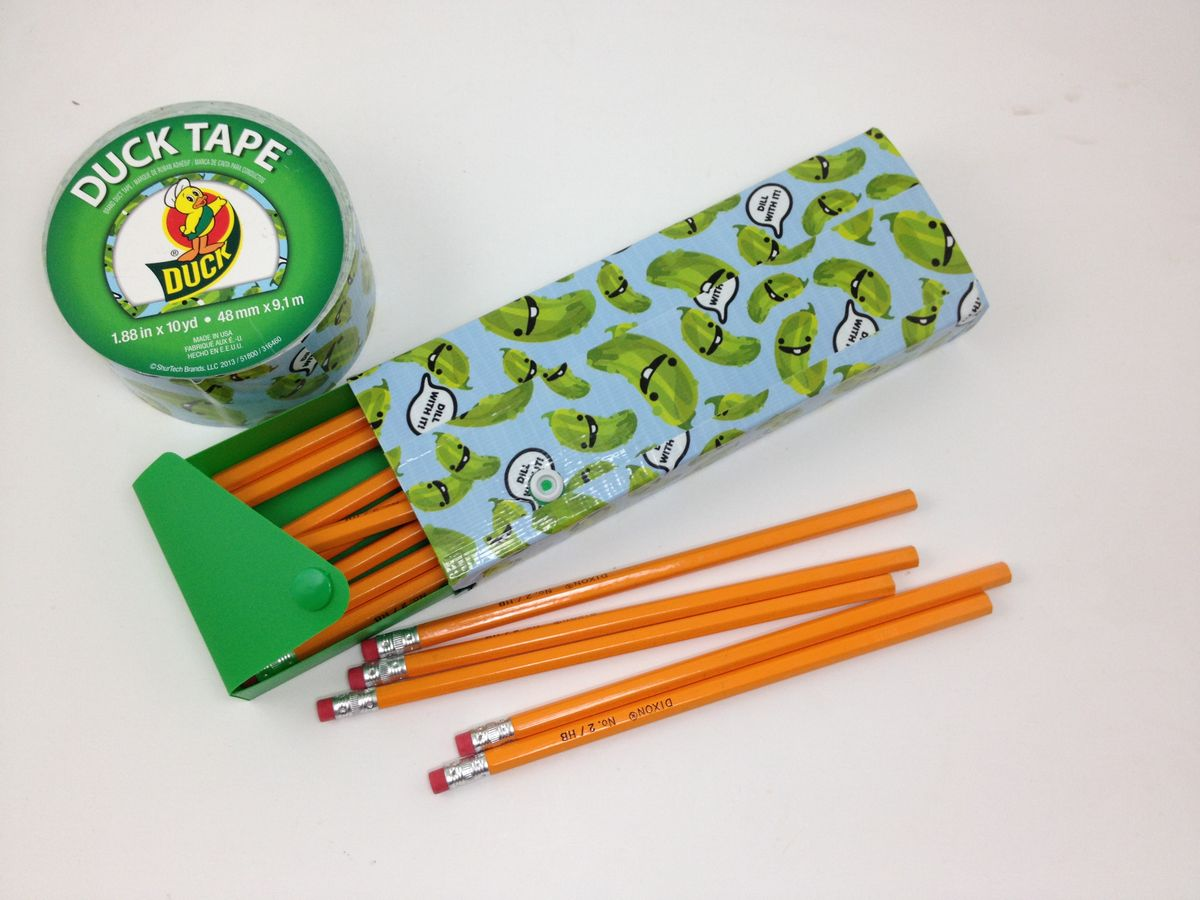 Tutorial duck tape pencil box dollar store crafts for Duck tape craft ideas