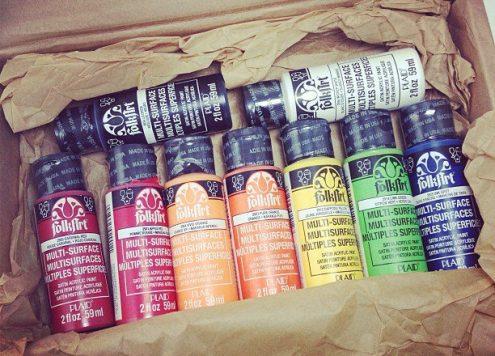 a rainbow of Folk Art Multi-surface paint!