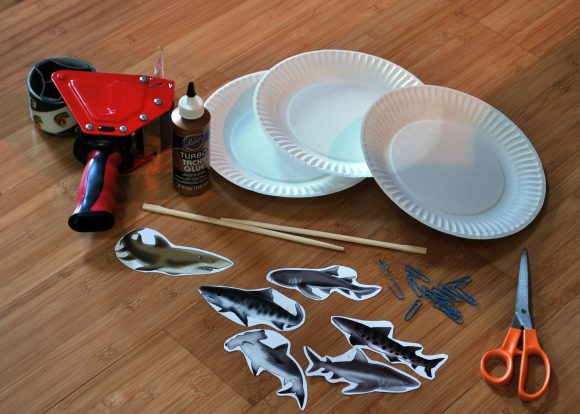 Sharknado paper plate mobile supplies