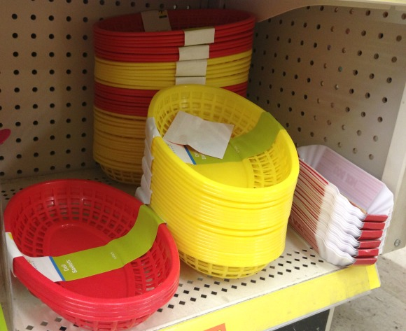 plastic baskets and hot dog holders
