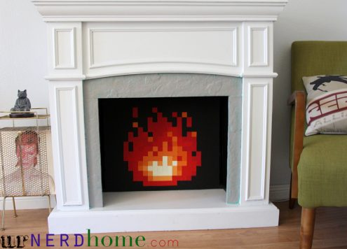 8-bit video game fireplace insert