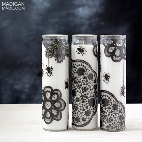 Make Doily Spiderweb Candles