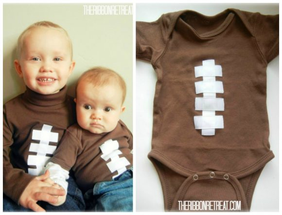 Cute football shirt - use dollar store ribbon