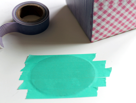 tissue box monogram with washi tape