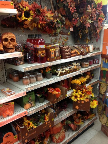 fall decor shopping at Dollar General