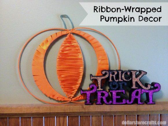Ribbon Wrapped Pumpkin Decor