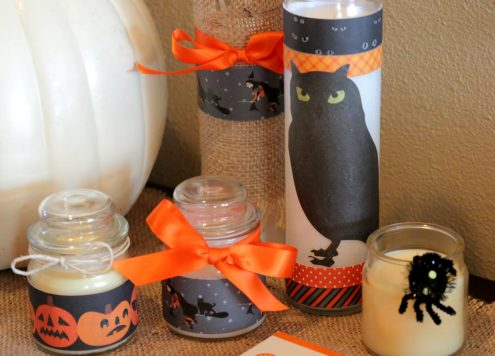 Super easy Halloween candle craft - using dollar store candles