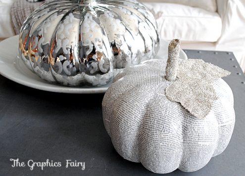 mod podge book page pumpkins