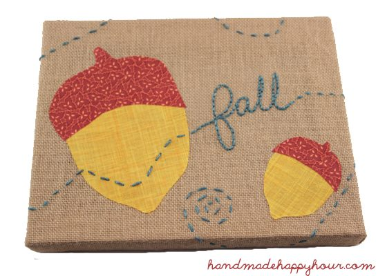 Cute fall burlap stitching project by Handmade Happy Hour
