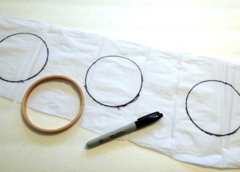 tracing embroidery hoop center