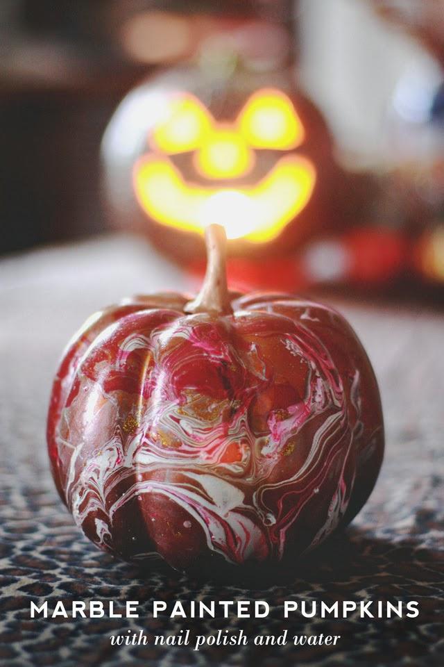 Make Marbleized Pumpkins