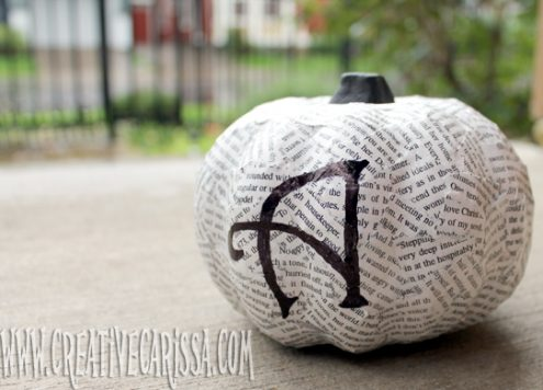 lettered book page pumpkin