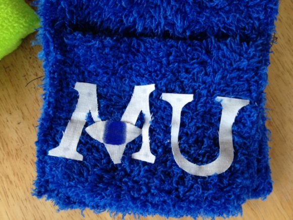 Monsters University craft: sew a Sully pocket scarf from dollar store shammies!