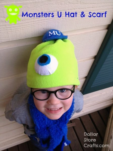 Monsters University Craft: Sew a hat and scarf from dollar store microfiber cloths