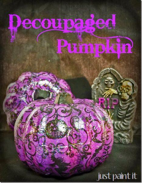 Decoupagfed Napkin Pumpkin