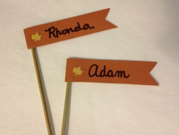Thanksgiving place card flags