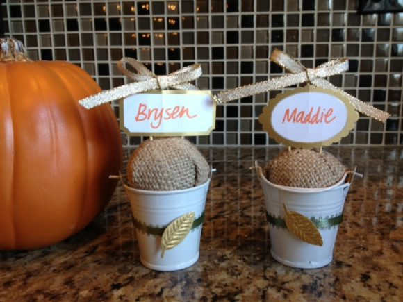 Thanksgiving place cards - super cute dollar store craft! So easy anyone can do it