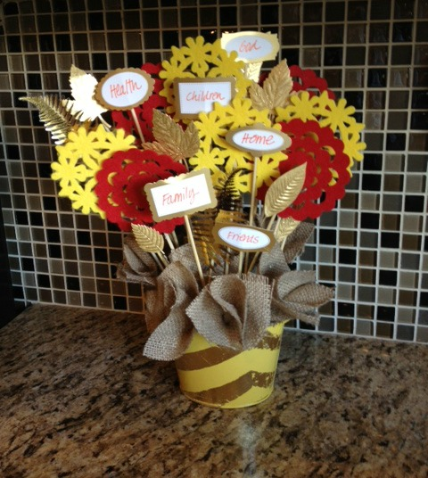 thankful centerpiece by dollar store crafts - rustic meets glam!