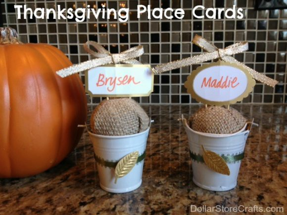 Burlap bucket place cards, so cute! click for instructions