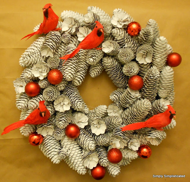 Make A Wintery Pine Cone Wreath » Dollar Store Crafts