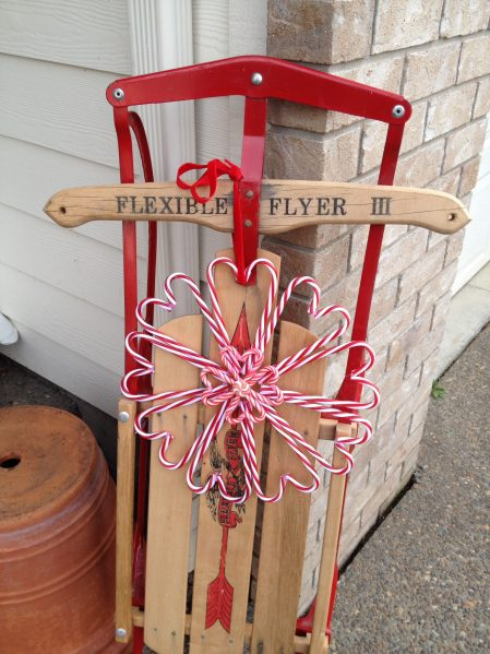 Candy cane wreath and sled