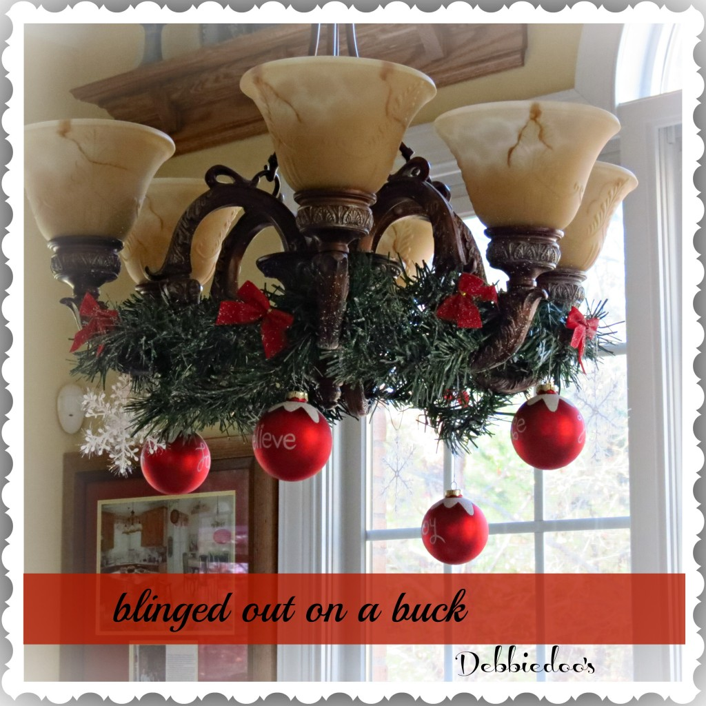 Quick Chandelier Decorating For Christmas » Dollar Store
