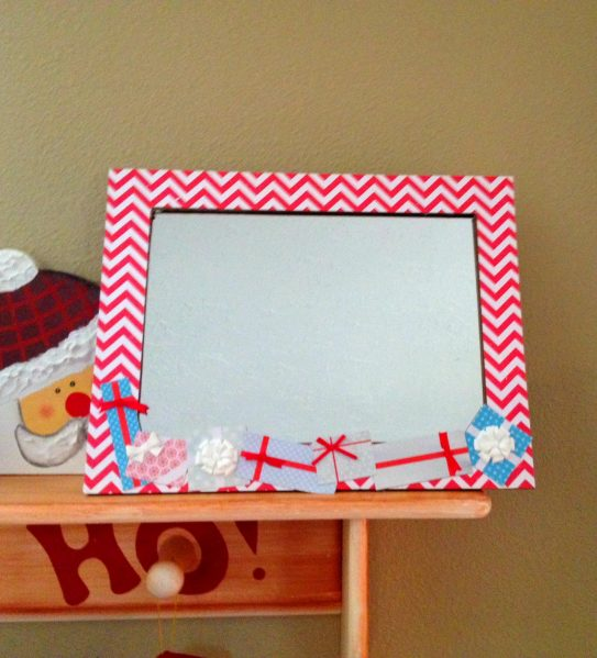 Easy way to embellish a mirror or frame with scrapbook paper from your stash
