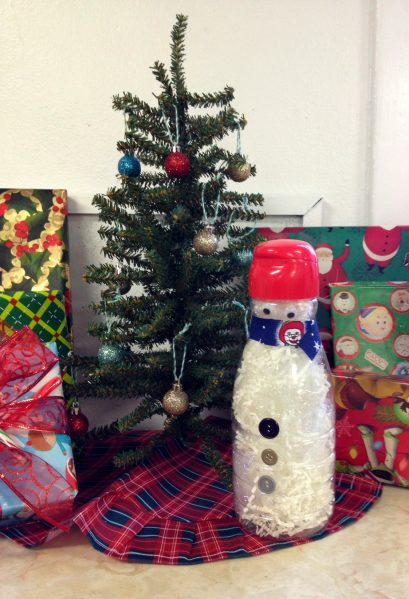 Recycled coffee creamer snowman craft