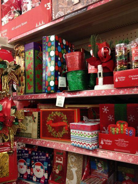 Christmas gift boxes at Dollar General