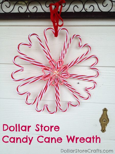 Dollar store candy cane heart wreath