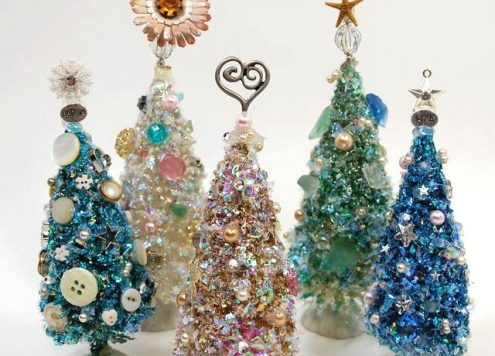 Make Embellished Bottle Brush Trees