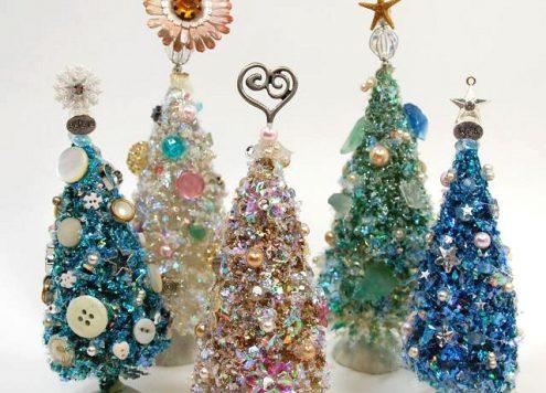 Make Embellished Bottle Brush Trees