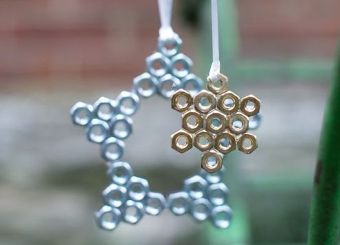 Make Hex Nut Snowflake Ornaments