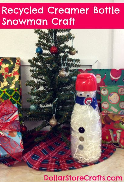 Recycled Coffee-mate creamer bottle snowman craft