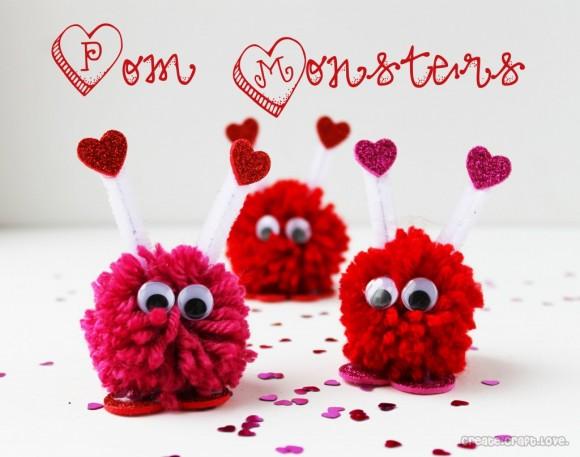 yarn pom pom monsters