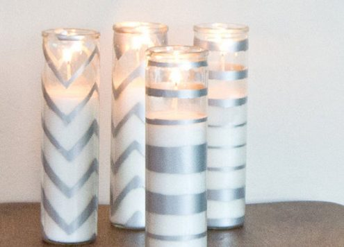 metallic silver candle holders