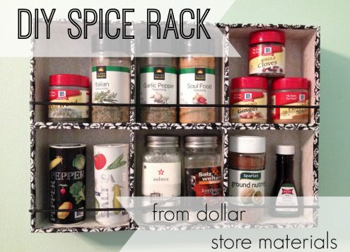 DIY spice rack from dollar store materials